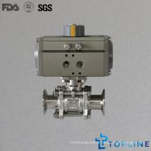Válvula de esfera pneumática de aço inoxidável sanitária com extremidades de grampo