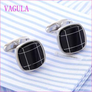 VAGULA Qualidade Hot Sales Qualidade Onyx Prata Gemelos Cuff Links (322)