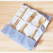 Japanese portable wooden chopsticks spoon fork three sets