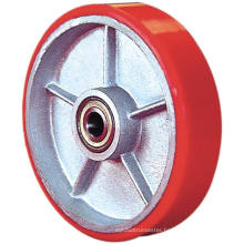 PU on Cast Iron Single Wheel - Red (5505560)