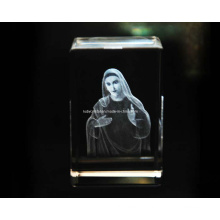 3D Mother Mary Statue Engraving Into Crystal Cube for Christian (R3013)