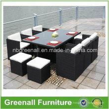 Outdoor 6 pessoas jantar Cube Rattan mobiliário