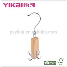 Wooden belt spinner hanger with 4 racks