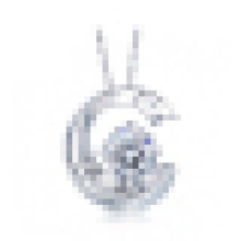 Women′s 925 Sterling Silver Moon Shaped White Crystal Pendant Necklace with Chain