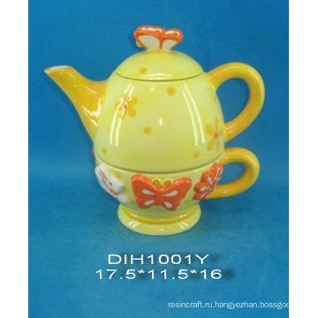 Ручная роспись керамического чайника с кружкой