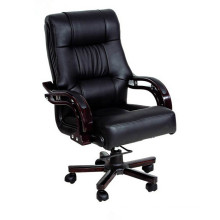 Leather Executive Chair Wooden Base Swivel Office Chair with Wood Frame
