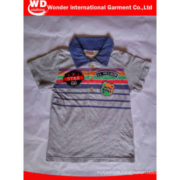 Fashion Printing with Patches Summer Children′s Polo T Shirt