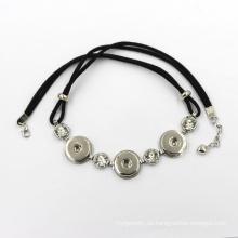 Mode-Legierung Snap Button und Leder Schnur Halskette