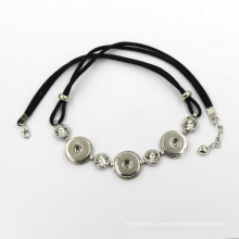 Fashion Alloy Snap Button and Leather Cord Necklace