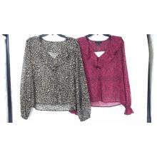 Ladies' Lurex Leopard Print Long Sleeve Blouse