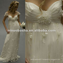Embroidery Lace Empire Waist,Cap Sleeved,Sweethear Neckline Wedding Gown