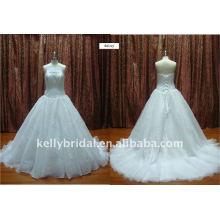 Nice Lace, applique embelezado vestido de casamento de renda com cordão