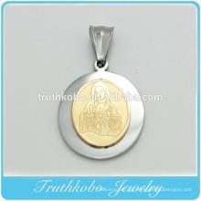 Venda quente de Moda Jóias Religiosas Abençoado Virgem Maria de Aço Inoxidável Dois Tons Dupla Camada de Colar Medalhões Pingentes