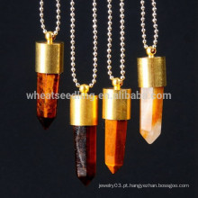 Fashion 24k banhado a ouro natural druzy ágata colar, pingente colar