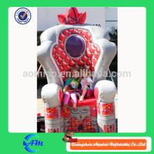 Gran trono inflable rojo de lujo para la promoción