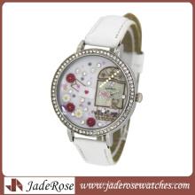 Diamant auf Zifferblatt und Lederarmband Lady Watches Fashion Watch