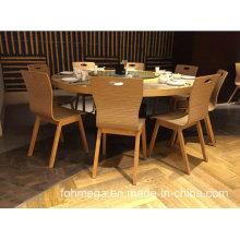 Mesa de comedor de madera moderna y 8 sillas