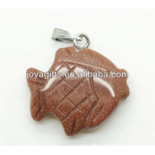 Fish Shape Gold Stone Pendant