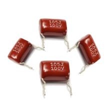 Condensador metalizado de la película de poliéster Cl21 con el Pin torcido corto