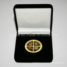 Caja de terciopelo negro apto con moneda de metal