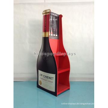 Custom Design 2-Wege Holzboden Standing Wine Shop Display Weinflasche Shaped Whisky Flasche Rack