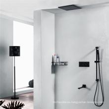 Juego de grifería de ducha negra de latón montado en la pared