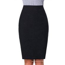 "Kate Kasin Occident Women's OL High Stretchy Black Hips-Wrapped Split back Short Pencil Skirt 27"" KK000274-1"