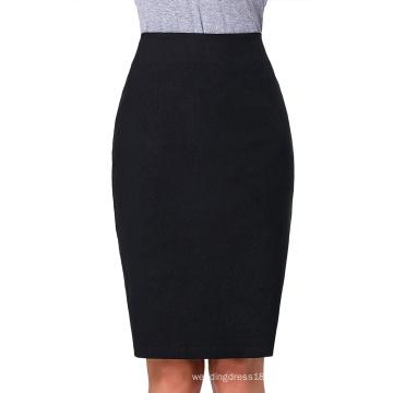 """Kate Kasin Occident Women's OL High Stretchy Black Hips-Wrapped Split back Short Pencil Skirt 27"""" KK000274-1"""