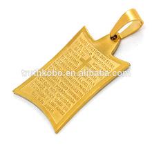 Atacado colar de pingente de cruz de metal carta impressão peregrino crescente amizade colar de aço inoxidável fazendo