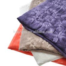Nueva Moda bordar estilo maxi Bordado de lino de algodón floral hijab chal bufanda