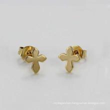 Stainless steel small studs earrings,small gold cross stud earrings