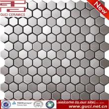 Petite tuile de mosaïque hexagonale mélangée d'acier inoxydable pour le mur de cuisine