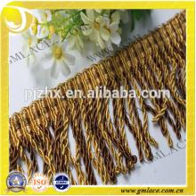 Franja de oro amarillo para vestidos y decoración del hogar