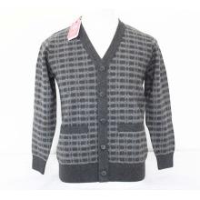 Як шерсть/кашемир V шеи кардиган с 2 патч свитер с длинным рукавом/одежда/трикотаж/одежда