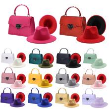 Rivet design fashion luxury women hat and handbags set women crossbody mini square shoulder hand bags