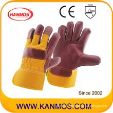 Muebles de piel de vaca de cuero rojo Guantes de trabajo industriales de seguridad de mano (310043)