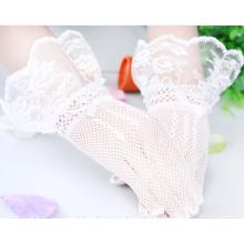 El cordón del fishnet de la manera de la boda appliques los guantes nupciales del cordón de la boda