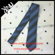 Grey Blue Stylish Striped Mixed Yarn Silk Wool Necktie for Men