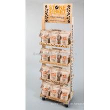 Beweglicher 4-Schicht-Nahrungsmittelgeschäft Befestigungs-Fußboden-fester hölzerner Zucker-Einzelverkaufs-Standplatz-Beutel-Kaffee-Anzeigen-Zahnstange