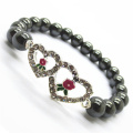 Pulsera Hematite 8MM Round Beads Stretch Gemstone con Diamante aleación doble corazón Pieza