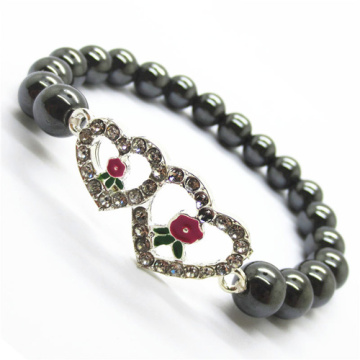 Hematite 8MM Round Beads Stretch Gemstone Bracelet with Diamante alloy double heart Piece