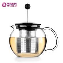 Imprensa do chá do vidro de borosilicato do presente de Amazon com filtro de aço inoxidável