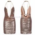 Aliexpress venta caliente 2017 nuevo diseño de las mujeres atractivas vestido corto lentejuelas de verano se visten las mujeres al por mayor