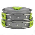Wholesale outdoor Green and Orange pan and pot cookware set for camping and hiking