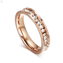 Boda Pave Crystal acero inoxidable 18K Rose Gold Eternity Band Anillos