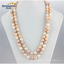"""11-12mm Mixed Color Grade a 48"""" Rice Pearl Necklace Cultured Freshwater Pearl Necklace"""
