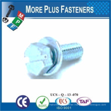 SEMS DIN 6901 SCREW WITH FLAT WASHER ASSBMBLIES SLOT INDENT HEX HEAD SHARP POINT TAPPING SCREW
