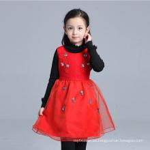 Los niños de invierno rojo visten otoño invierno abrigos de delantal niñas vestidos moda delantal para niños flores apliques