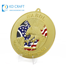 Supply personalized custom metal embossed 3D enamel sport national powerlifting weightlifting gold medal