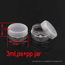 3G Clear Plastic Uñas / Ojos / Maquillaje / Cosmética Pot Jar, Trial / Cream Jar